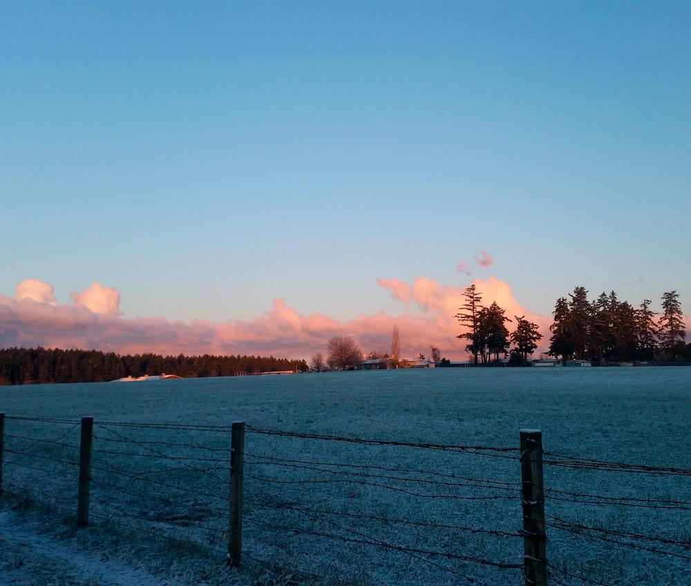 Die Umgebung der Schule im Winter während des Sonnenaufgangs